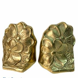 "Pair of Brass Bookends Floral Dogwood 5"" tall"